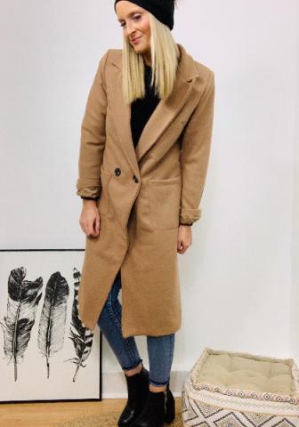 Manteau long effet drap de laine