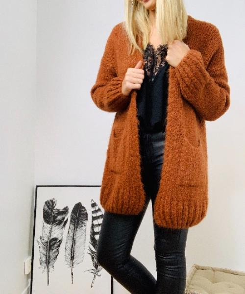 Gilet long grosse maille avec poches